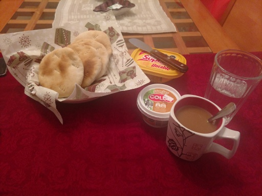 typical breakfast: bread, manjar, coffee