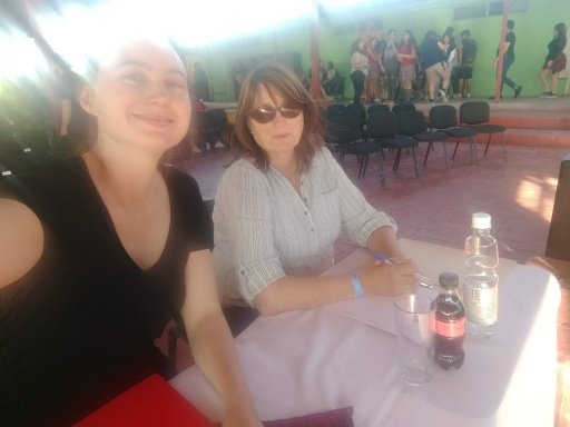 Mom and I at the judge's table