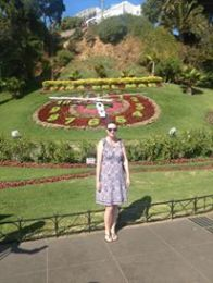 At the flower clock in Vina