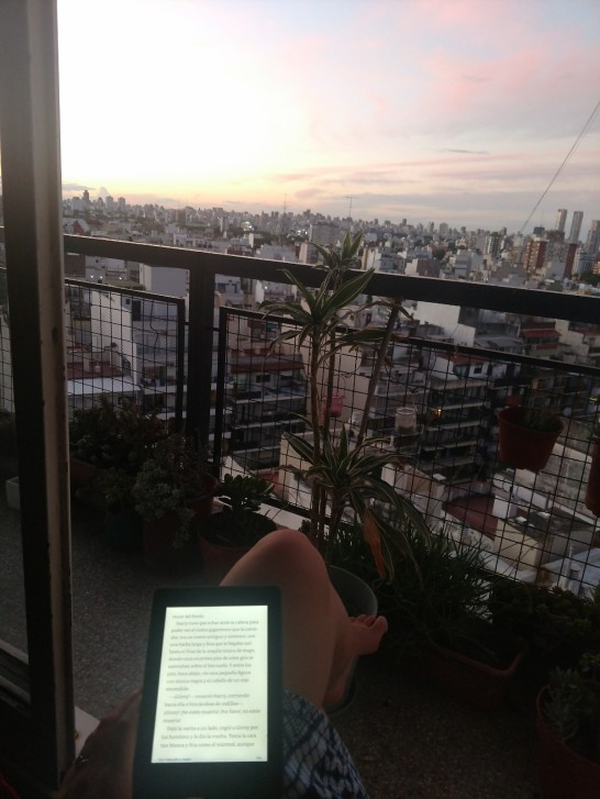 Reading HP and enjoying the view