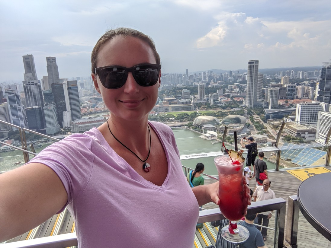 Singapore Sling on the Marina Bay Sands rooftop