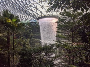 The water vortex five story waterfall at Singapore airport