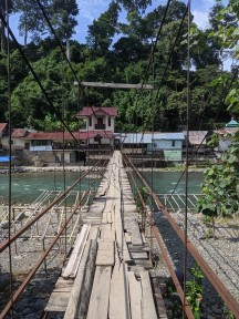 Swinging bridge to hotel