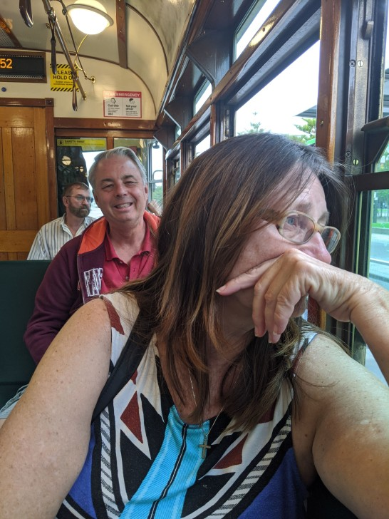 Mom and dad enjoying the trolley ride