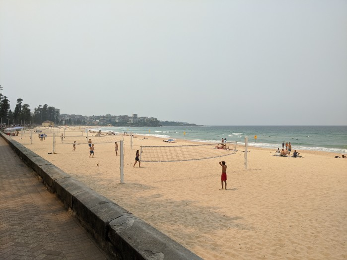 The beach scene at Manly